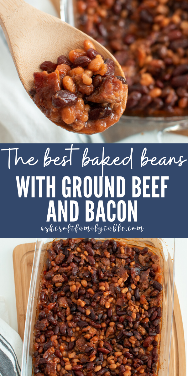 Pinterest graphic with text, a spoonful of calico baked beans, and a dish of baked beans with ground beef.
