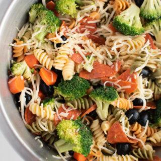 Zesty Italian pasta salad in large bowl.
