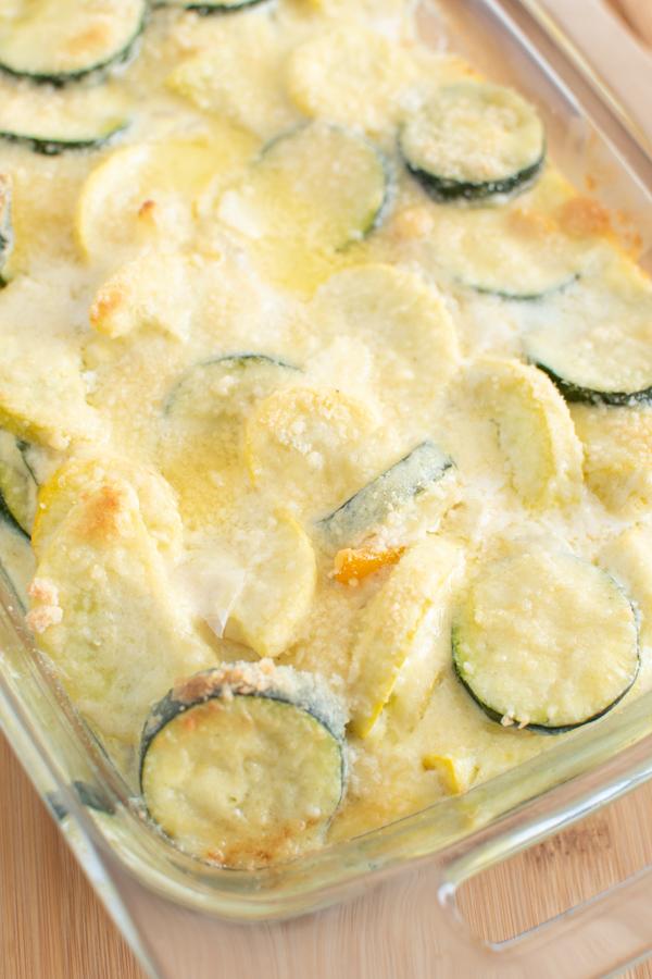 Zuchini squash bake in a casserole dish.