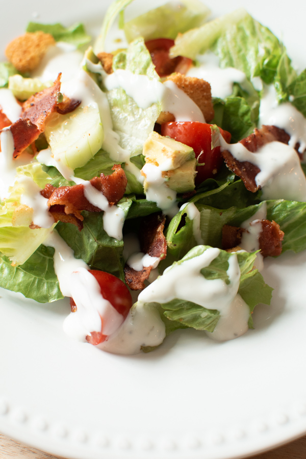BLT salad with avocado and ranch dressing.