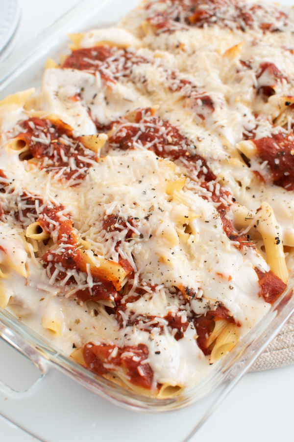 Baked pasta in a casserole dish.