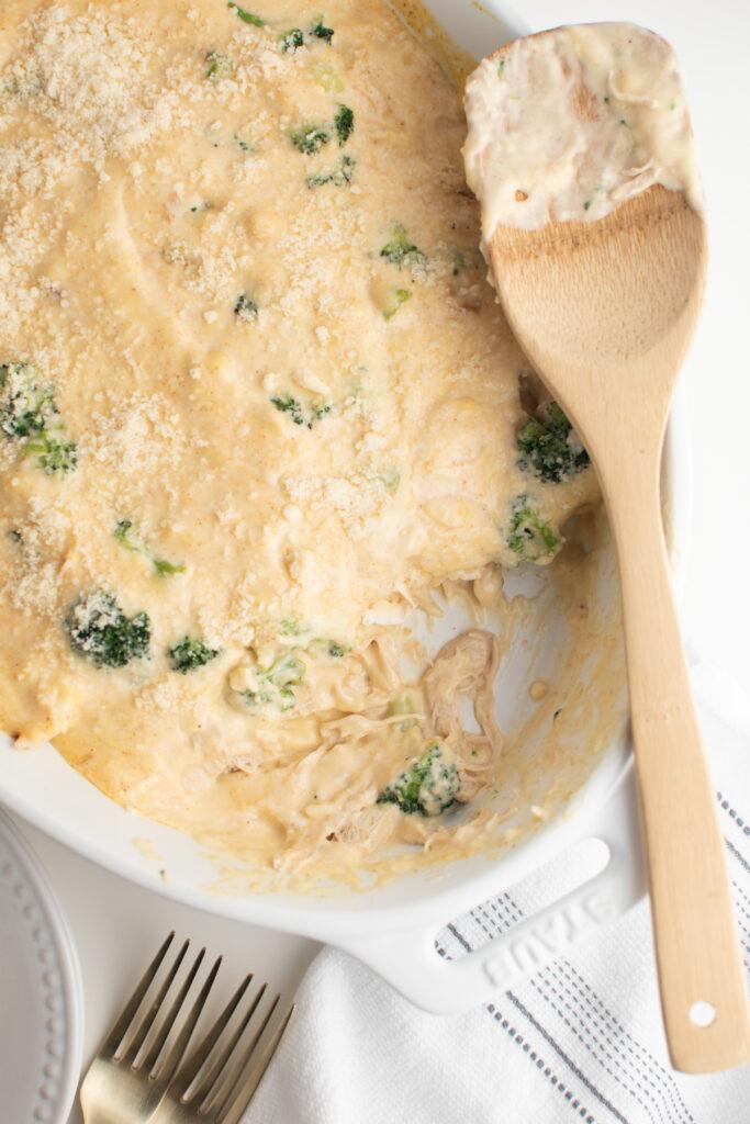 Chicken broccoli casserole recipe in a casserole dish.