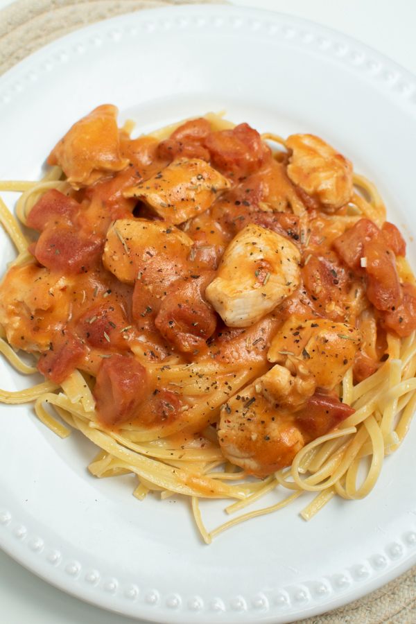Linguine with Chicken on plate.