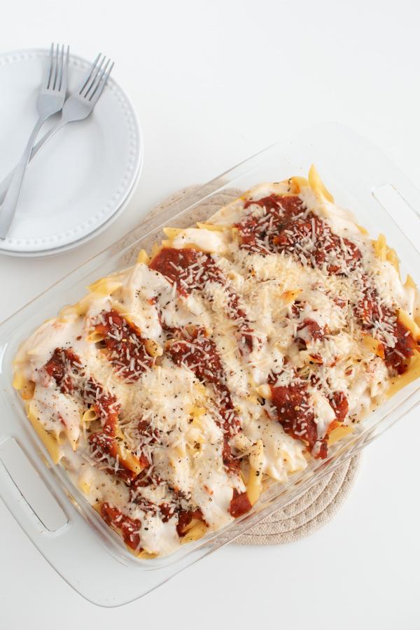 Pasta bake in a casserole dish.