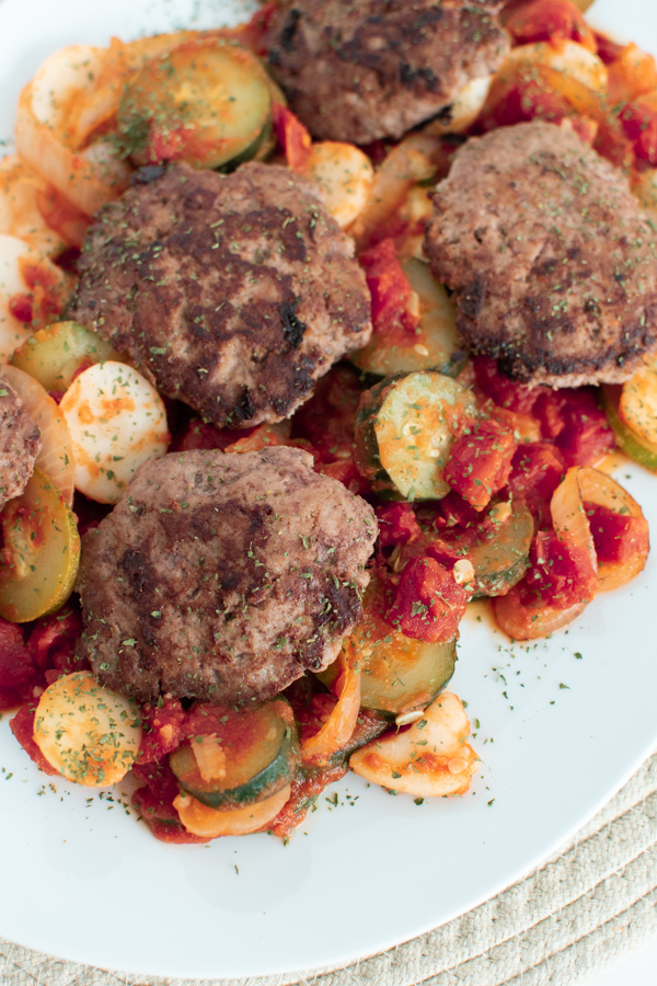 Italian ground turkey patty on a platter.