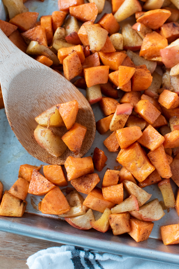 Sweet potatoes and apples ready to serve.