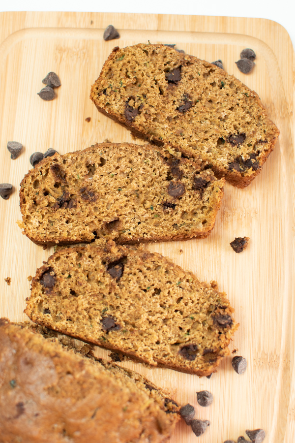 Slices of zucchini bread with chocolate chips.