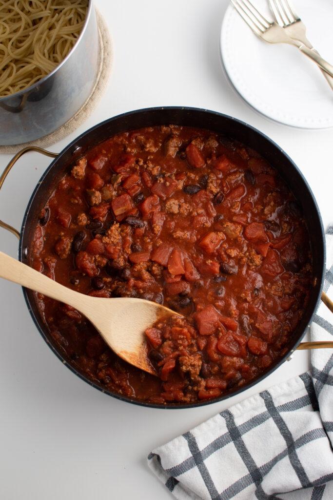 Pan of Cincinnati chili.