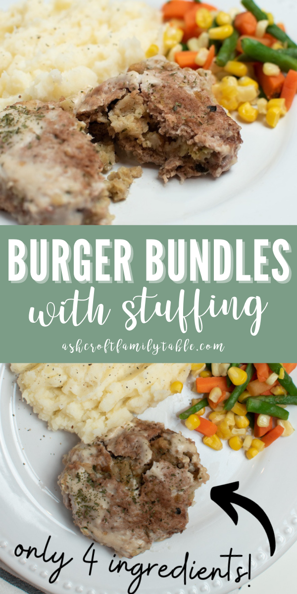 Pinterest graphic with text and a collage of burger bundles on a plate.