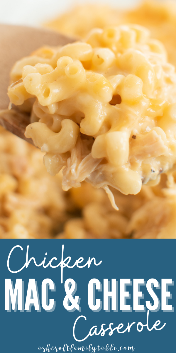 Pinterest graphic with text and a spoon full of chicken macaroni casserole.
