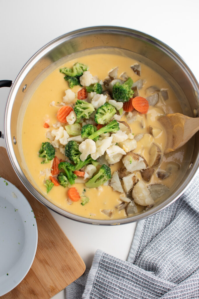 Chopped vegetables in cheesy chowder.