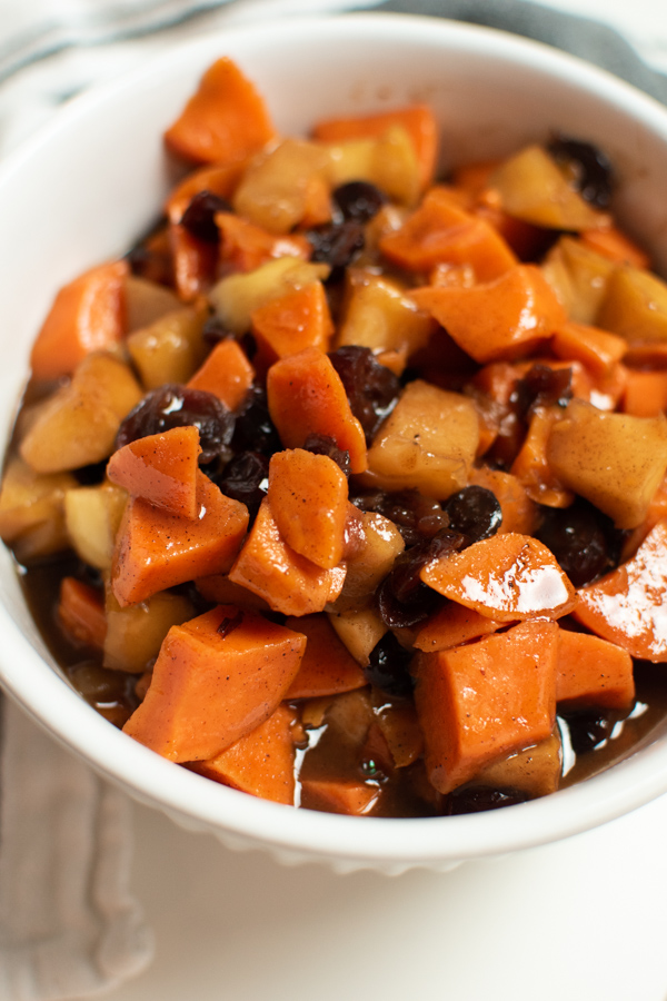 Slow cooker sweet potatoes in a bowl.