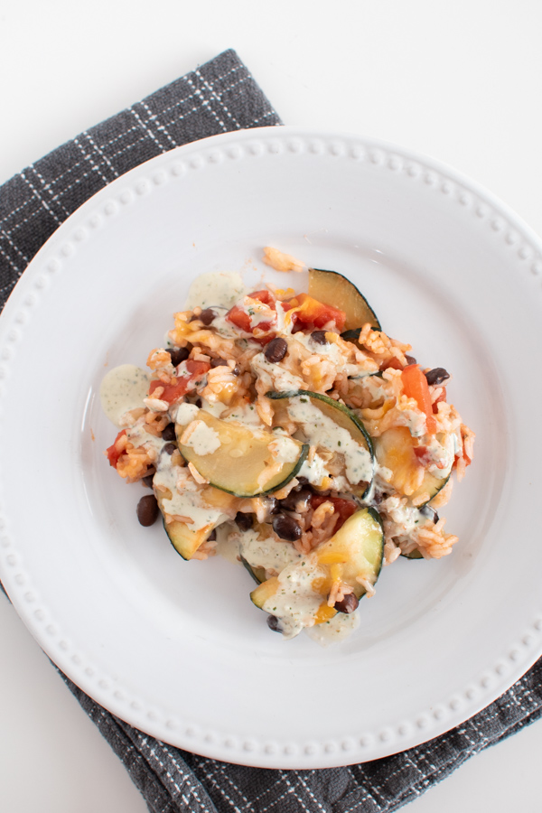 Zucchini black bean and rice skillet on a plate.
