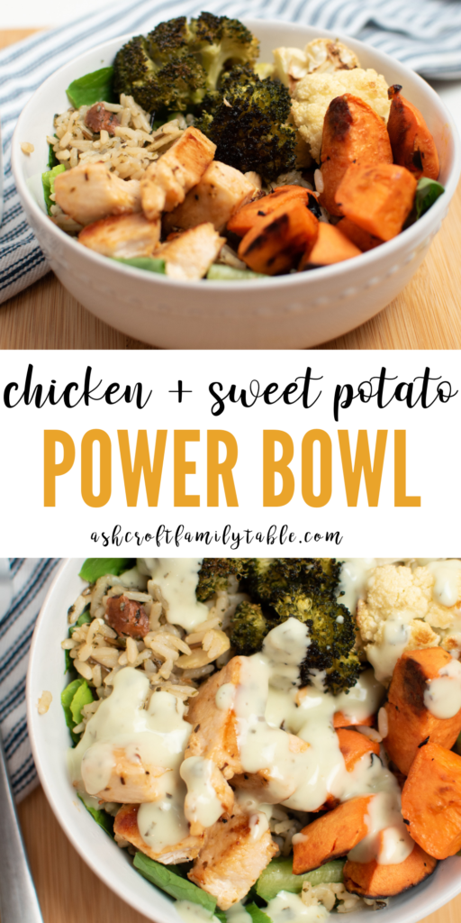 A Pinterest image with text and chicken power bowl with and without dressing.