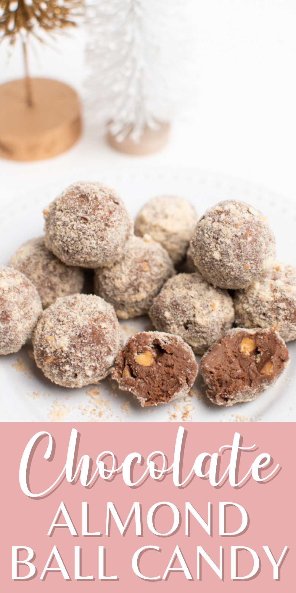 A Pinterest image with text and a plate of chocolate almond balls.