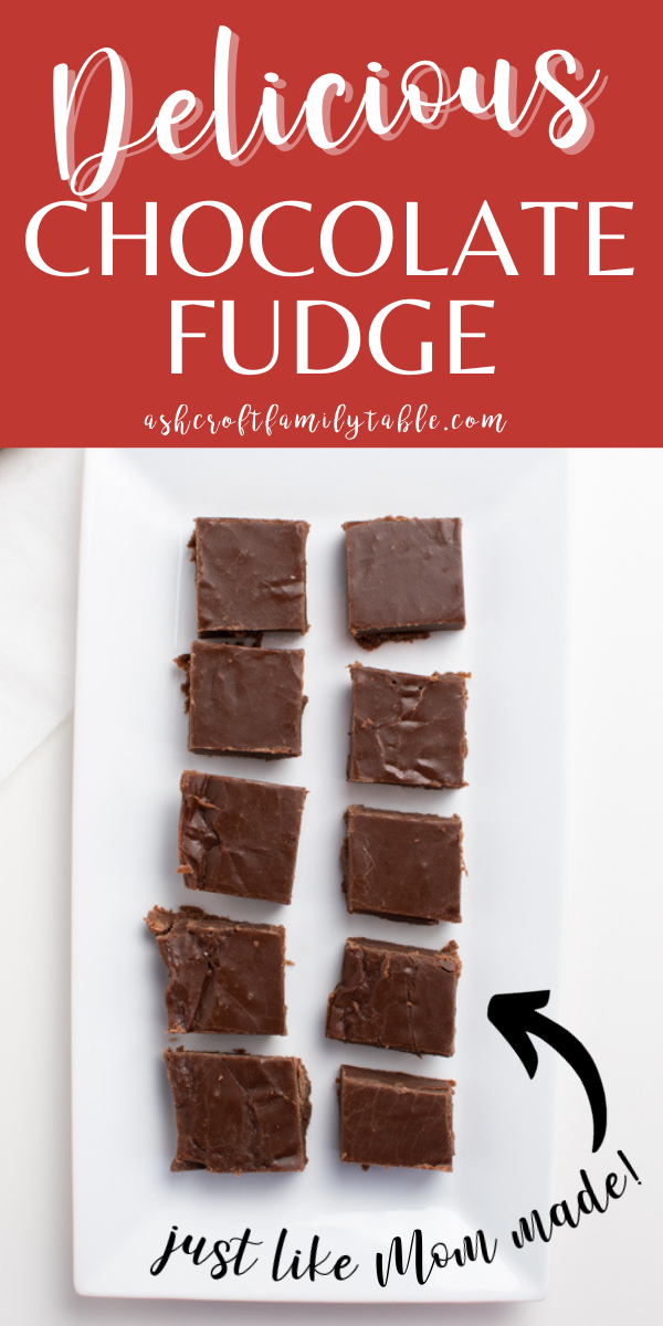 A Pinterest graphic with text and pieces of marshmallow chocolate fudge on a plate.
