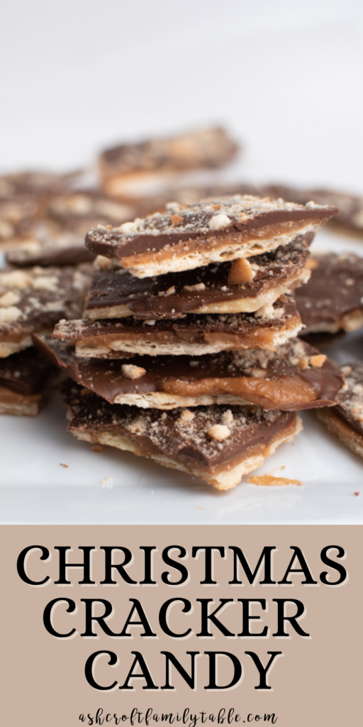 A Pinterest image with text and a stack of cracker candy.