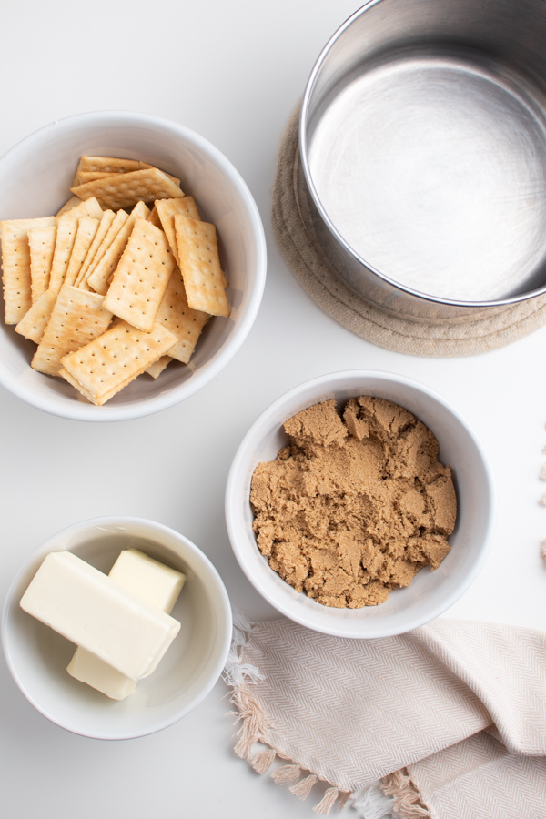 Cracker candy ingredients on a table.