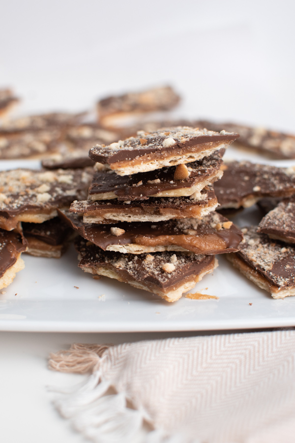 Cracker candy on a white plate.
