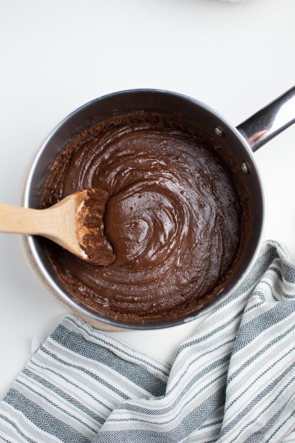 Pot of homemade fudge.