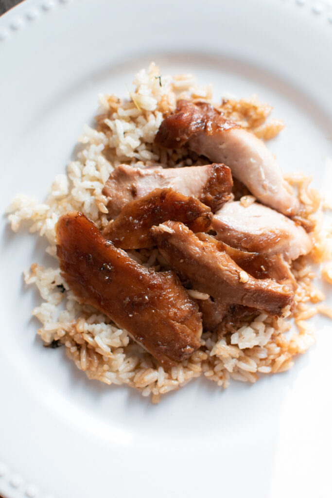 Asian style chicken thighs served over rice.