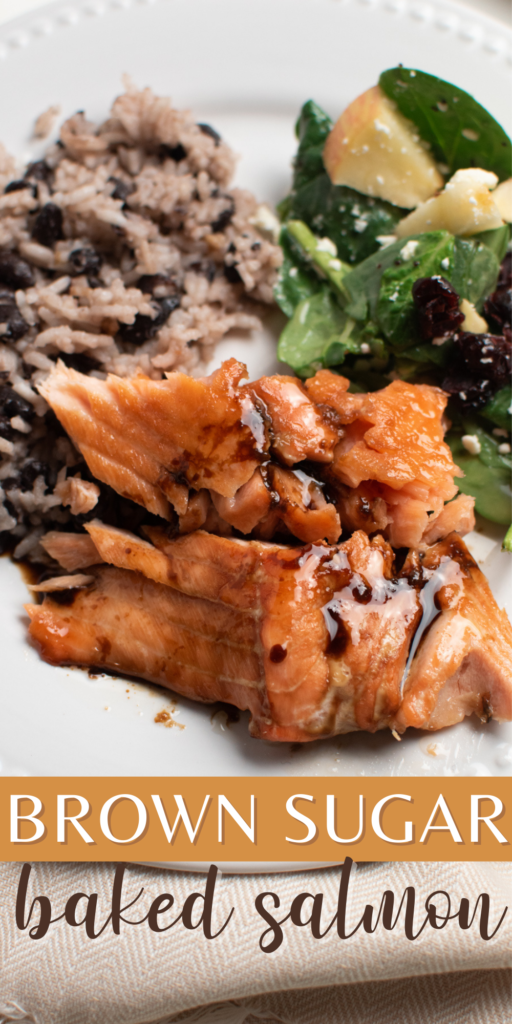 A Pinterest image with text and a piece of brown sugar baked salmon on a plate.