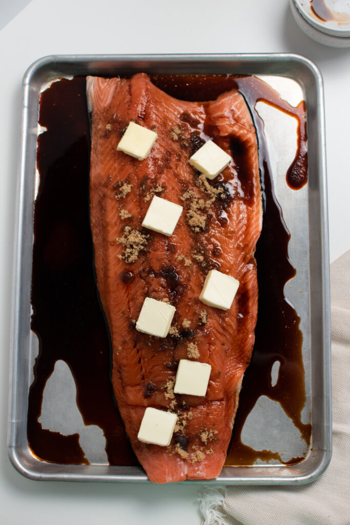 Brown sugar salmon recipe using soy sauce and butter.