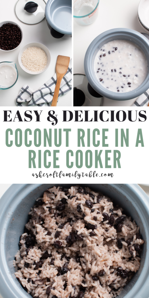 A Pinterest image with text a collage showing the process of making coconut rice with black beans.