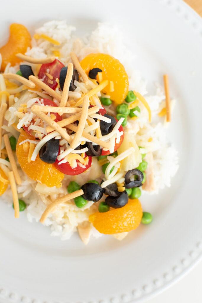 Hawaiian haystacks ingredients on a plate.