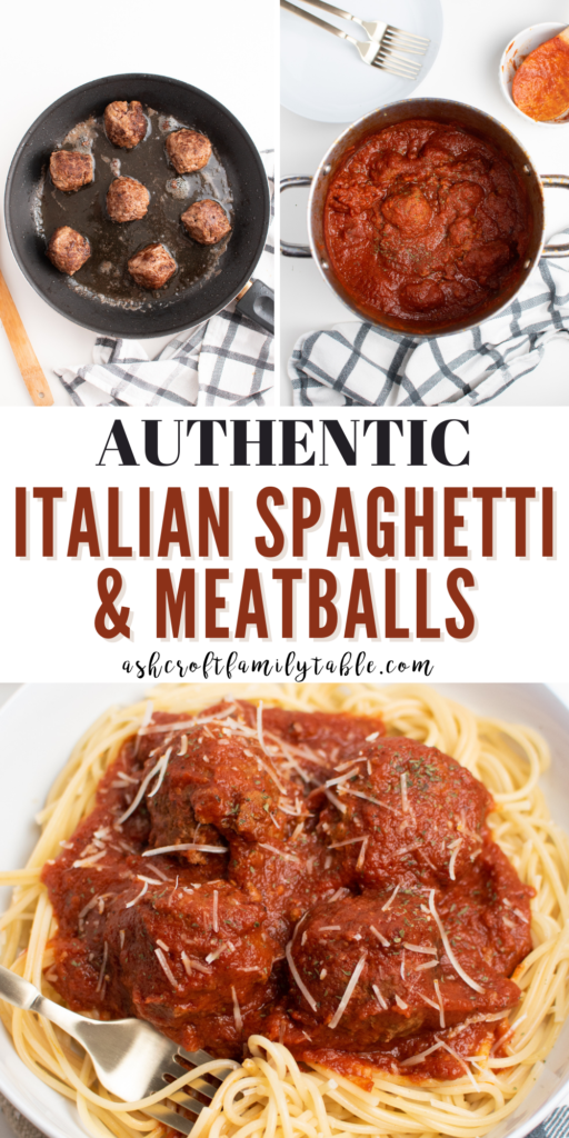 A Pinterest image with text and a collage of the process to make Italian spaghetti and meatballs.