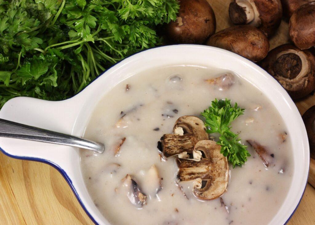 Cream of mushroom soup in white cook pot.