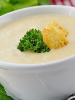Cream of chicken soup in white bowl with crouton garnish.