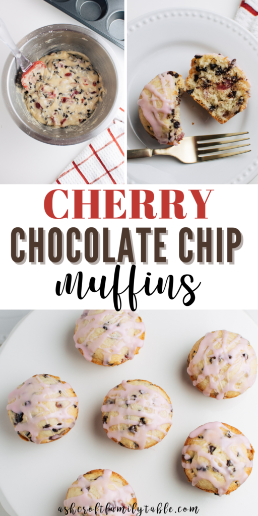 A Pinterest image with text and a collage of the process to make cherry chocolate chip muffins.