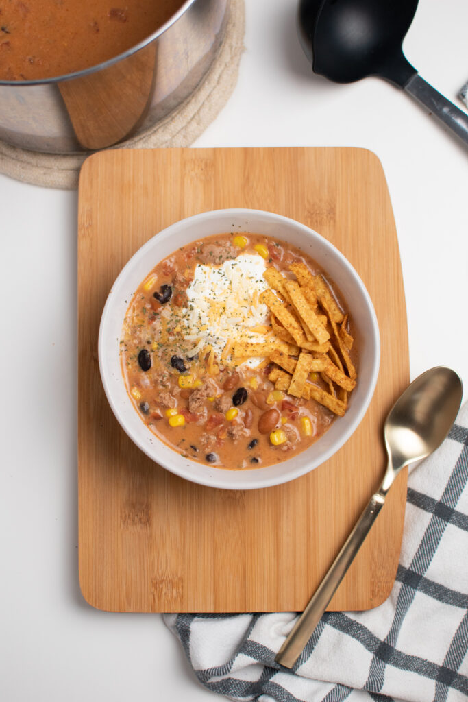 Cream cheese taco soup in a bowl.