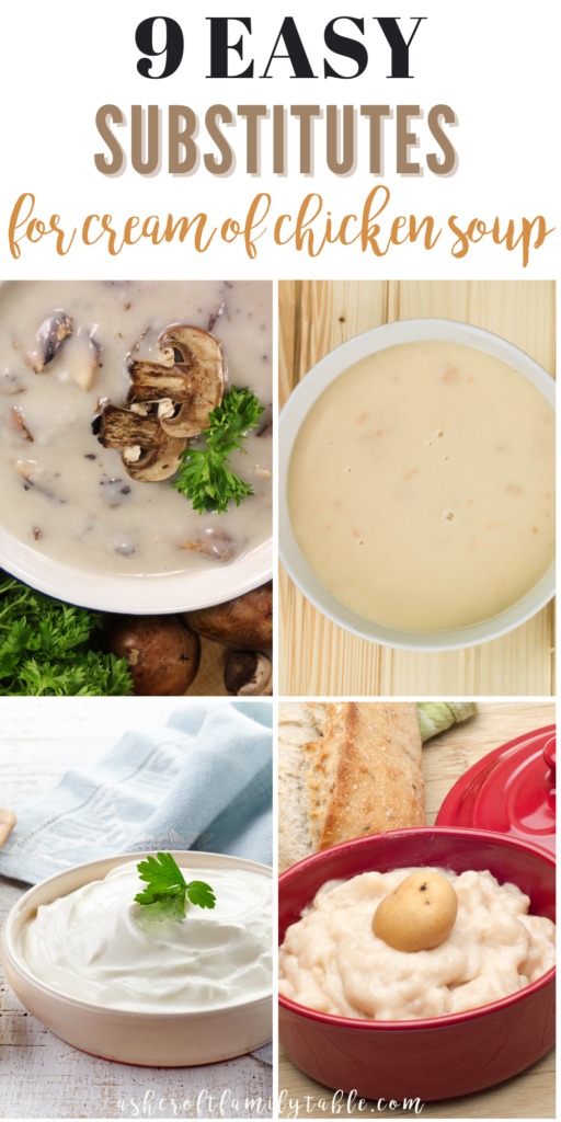 Pinterest graphic with text and collage of cream of chicken soup substitutes.