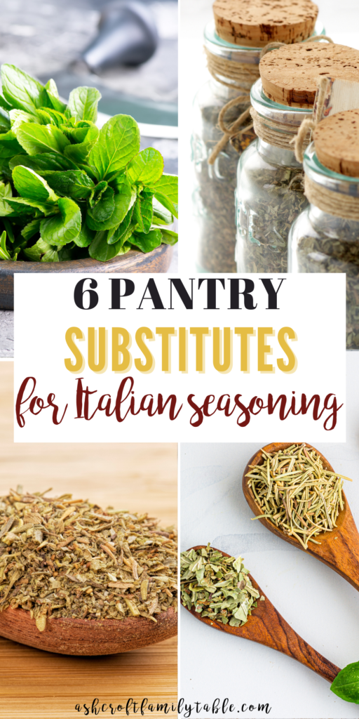 Pinterest graphic with text and collage of Italian seasoning substitutes.