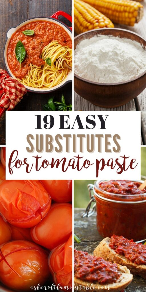 Pinterest graphic with text and collage of tomato paste substitutes.