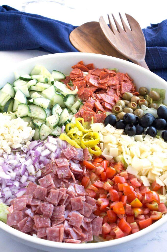 Large bowl of Italian chopped salad.