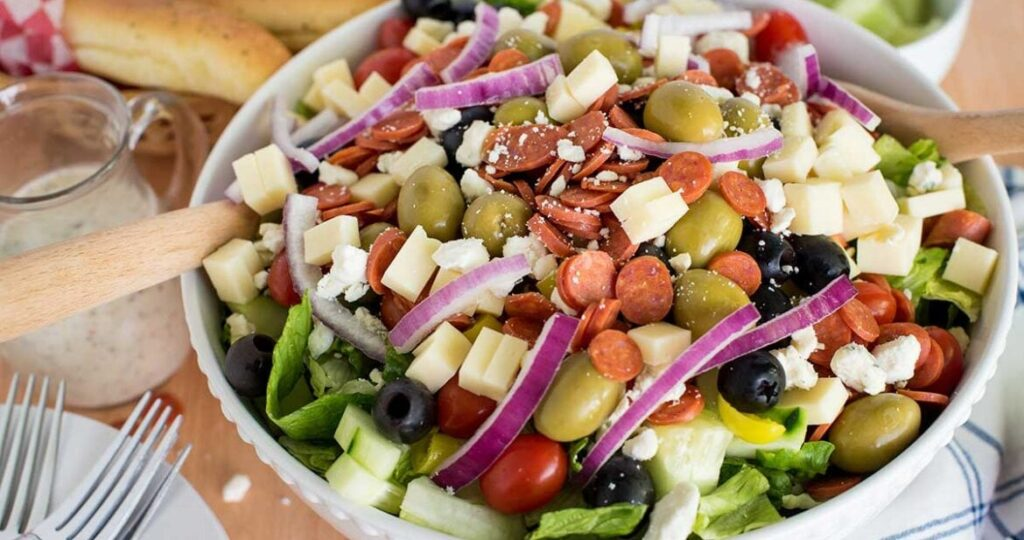 Bowl of Italian chopped salad.