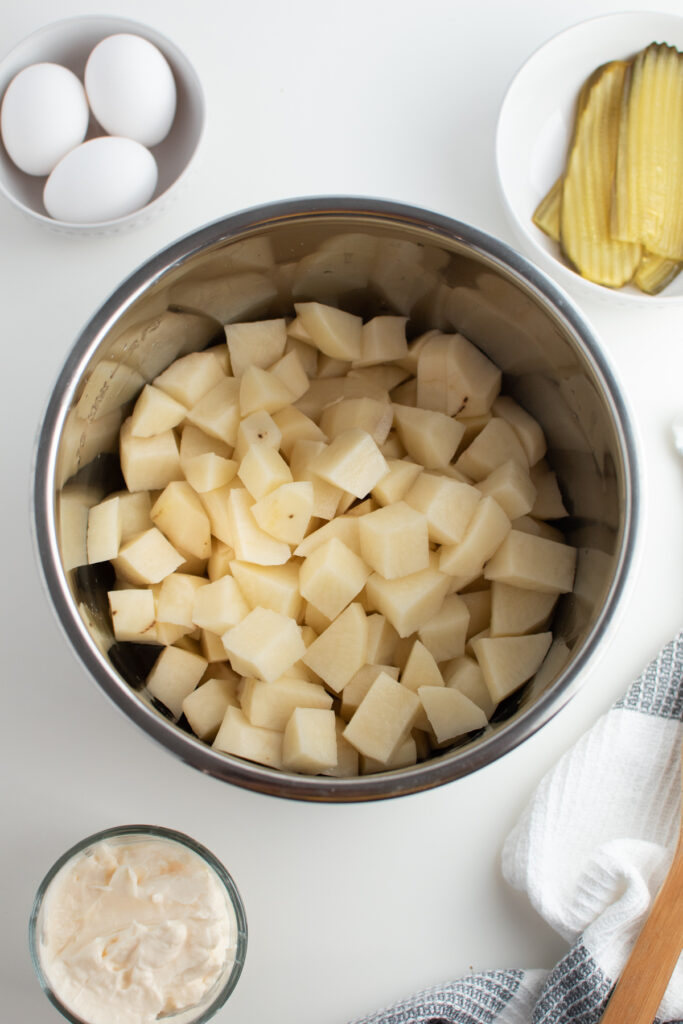 Chopped potatoes in Instant Pot.