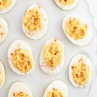Instant Pot deviled eggs on white platter.