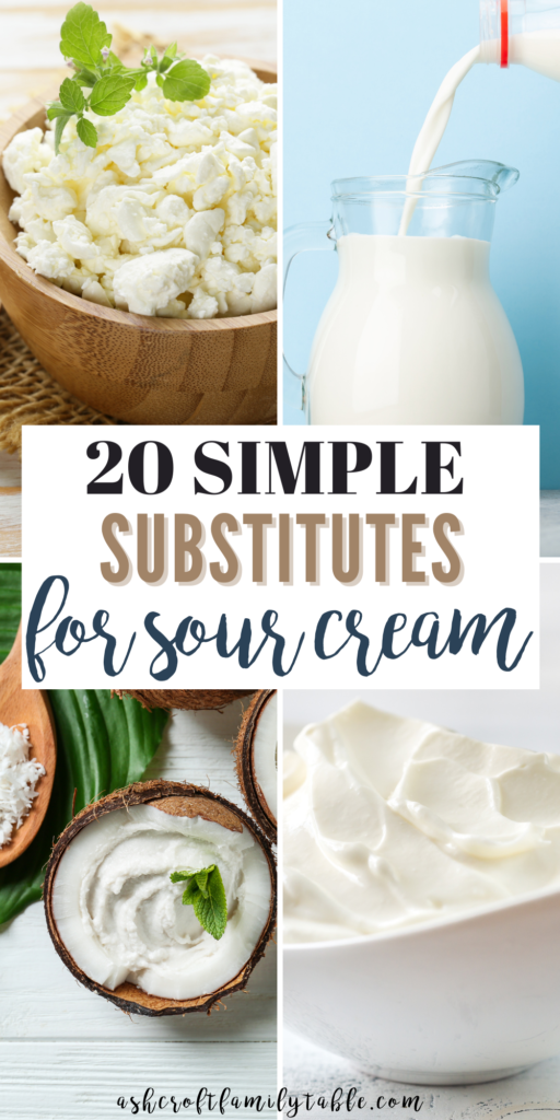 Pinterest graphic with text and collage of sour cream substitutes.