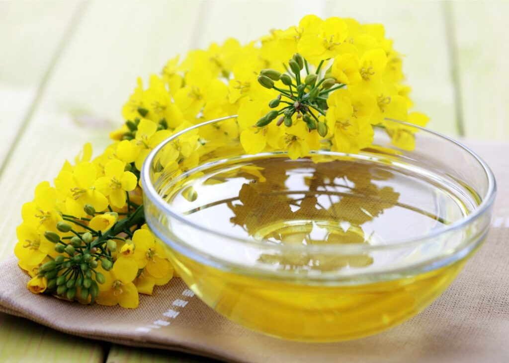 Canola oil in glass bowl next to flowers.