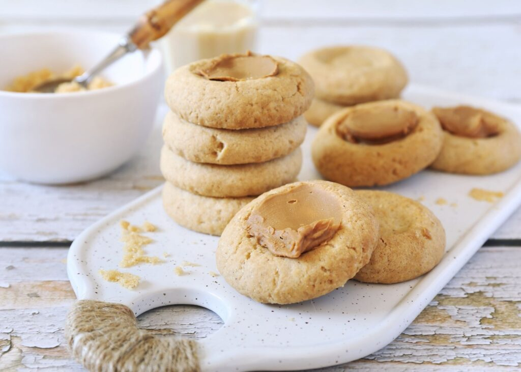 Nut butter on cookies.