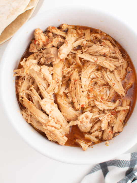 Cafe Rio chicken recipe in white bowl.