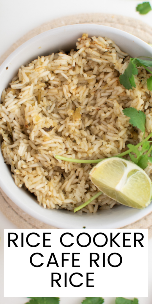 Pinterest graphic with text and Cafe Rio rice in white bowl.
