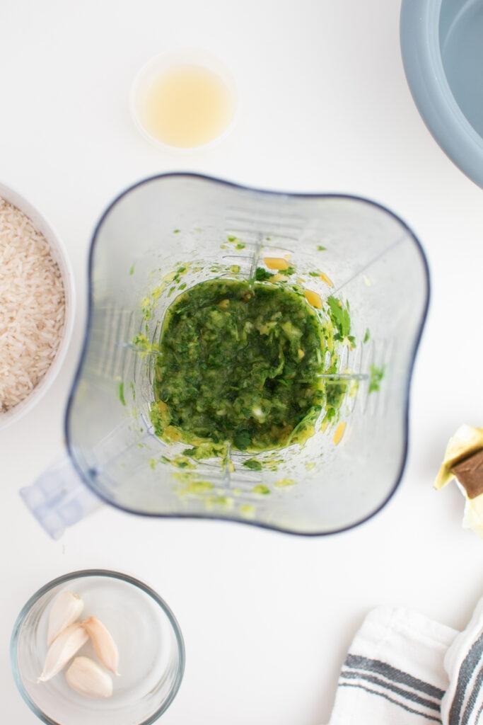 Blended cilantro mixture in blender.