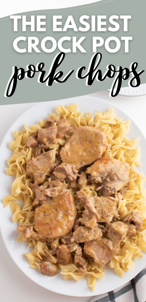 Pinterest graphic with text and Crockpot pork chops.
