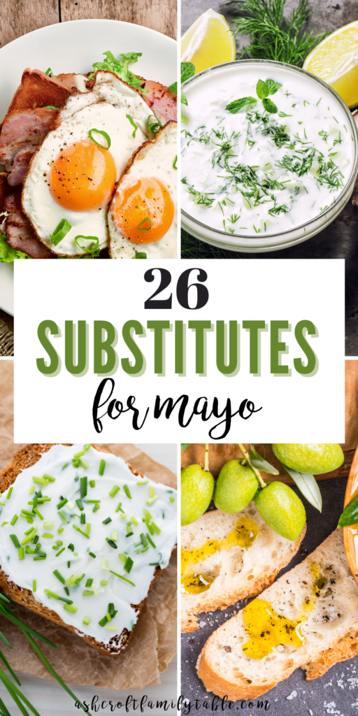 Pinterest graphic with text and collage of mayo substitutes.