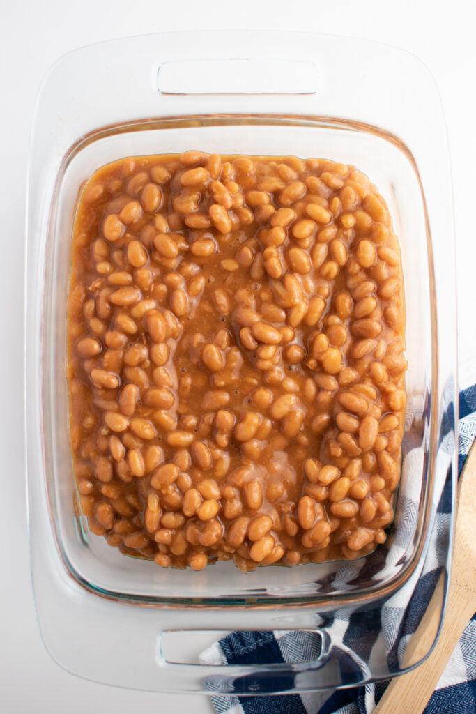 Baked beans in baking dish.